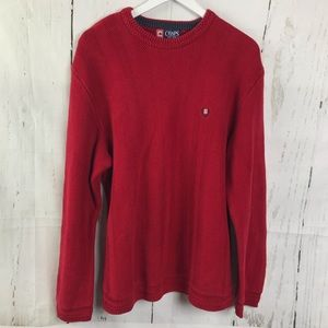 Chaps Red Knit Crewneck Sweater